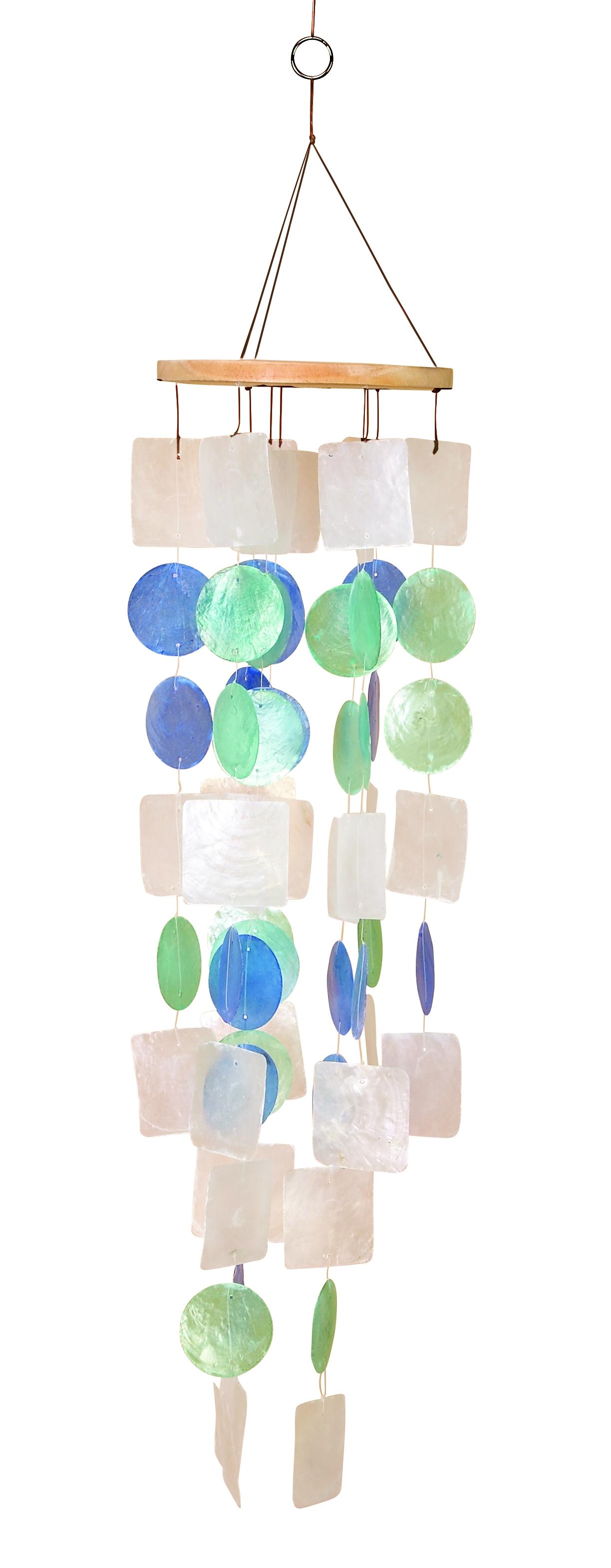 Capiz Shell Wind Chimes~Nautical Seashell Decor 5 Colorful Selections