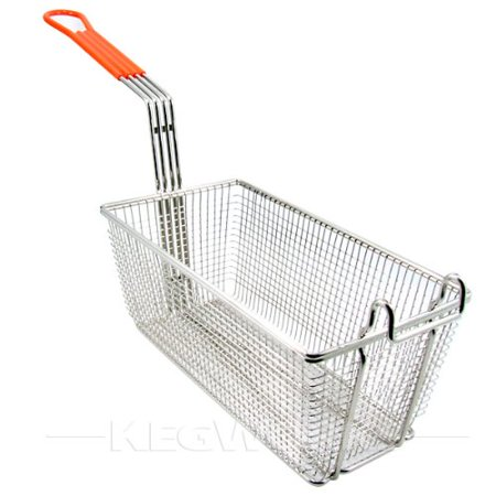FB-10 Fry Basket with Orange Handle, Heavy for Basket Plastic TB8 Fry Wire Orange CoatedHandle FBPB and Duty by 1012 Round FB20 6516Wx1218Dx5 Taco.., By Winco