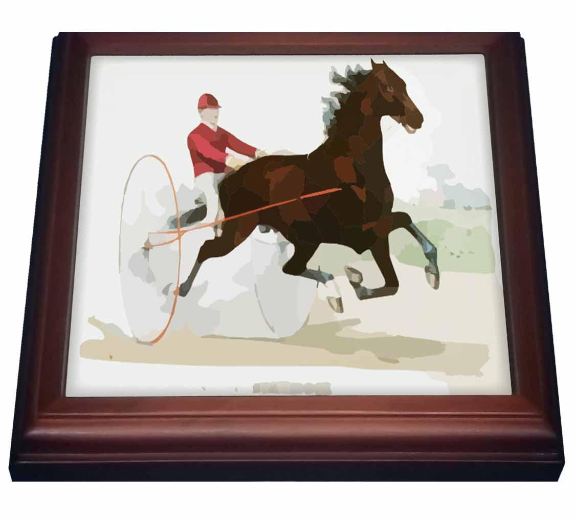 3drose Vintage Abstract Racing Horse N Jockey Trivet With Ceramic