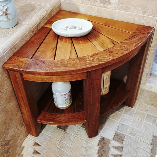 welland llc 2 tier teak shower seat - Teak Shower Bench