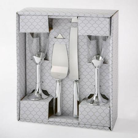 Plain Elegance Silver Gold Toasting Glasses And Cake Server 4 Piece Set Silver Caviar Server