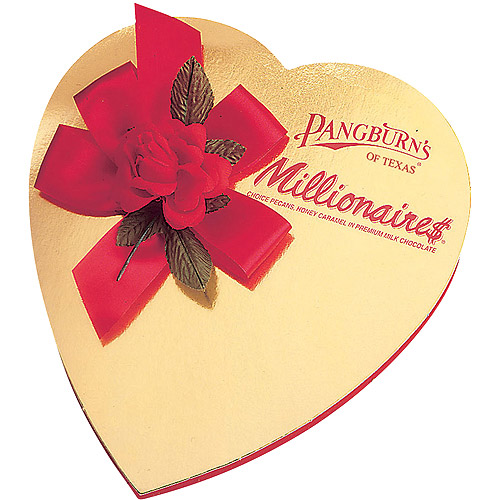 Pangburn's of Texas Millionaires Valentine Chocolate Candies Heart Box, 5.25 oz