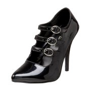 womens tri-strap mary jane pumps 5 inch heels black patent pointed toe shoes