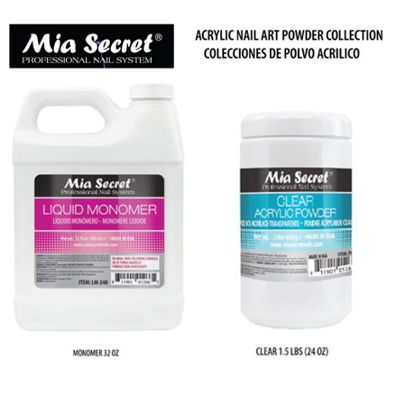 32 oz Liquid Monomer & 24 oz Clear Acrylic Powder Set Mia Secret MADE IN USA+ FREE Temporary Body Tattoo Usa Body Powder