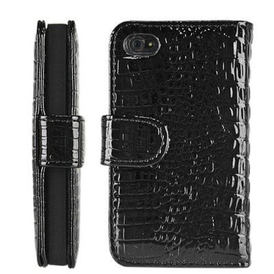 Leather Wallet Case for iPhone 4 / 4S -  Crocodile Black