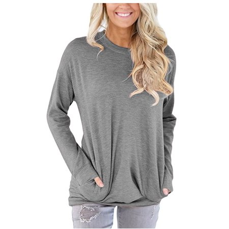 JustVH Women's Long Sleeve Casual Sweatshirt Pullover Loose Tunic Shirts Blouse Tops With Pocket