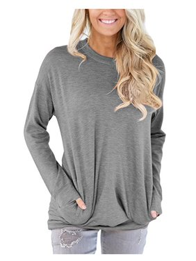 0642da75 Product Image JustVH Women's Long Sleeve Casual Sweatshirt Pullover Loose  Tunic Shirts Blouse Tops With Pocket