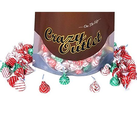 Hershey's Kisses Hugs Milk Chocolate, Red, Green and Silver striped foils 2 pounds bag](Hershey Hugs)