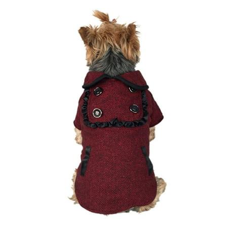 Medium Dog Coat - Black/Red Herringbone Pattern Fashion Puppy Dog Clothing Clothes Pet Jacket Warm Apparel - Medium (Gift for Pet)