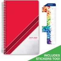"2019-2020 Student Planner 5.5""x8.5"" Middle School or High School for Academic Year 2019-2020 (Matrix Style Agenda - Red Stripe Cover) - Bonus RULER / BOOKMARK and PLANNING STICKERS"