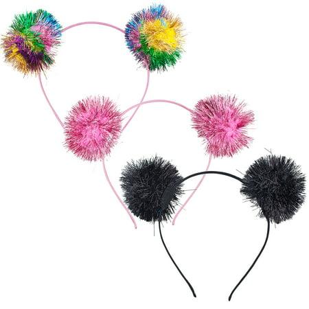 Lux Accessories Rainbow Party Tinsel Pom Pom Hair Accessories Headband Set 3PC