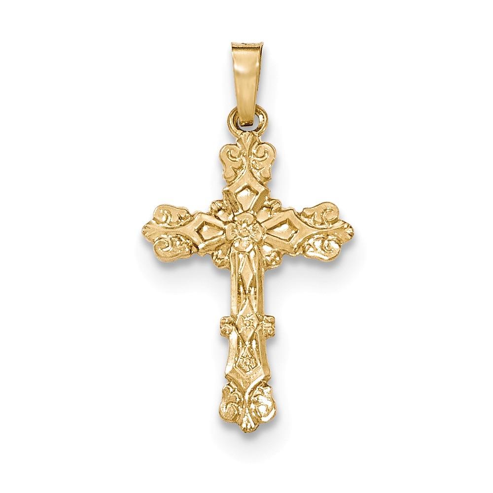 14k Yellow Gold Polished Budded Cross Pendant