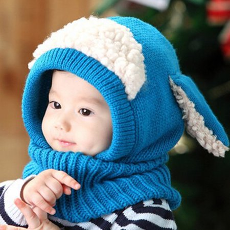Yosoo Dog Style Comfortable Winter Baby Hat  Scarf Joint Knitted Caps for Infant Boys Girls