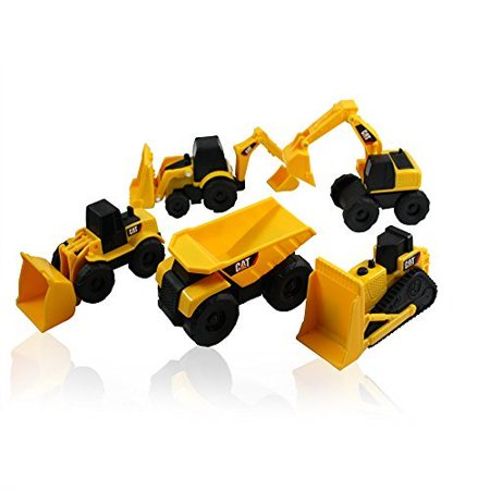 CAT Mini Machine Caterpillar Construction Truck Toy Cars Set of 5, Dump Truck, Bulldozer, Wheel Loader, Excavator and Backhoe Free-Wheeling Vehicles w/Moving Parts -Great Cake -