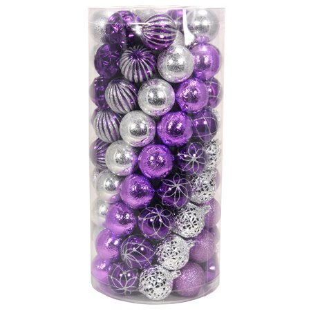 holiday time purplesilver shatterproof christmas ornaments set of 101 - Purple And Silver Christmas Decorations
