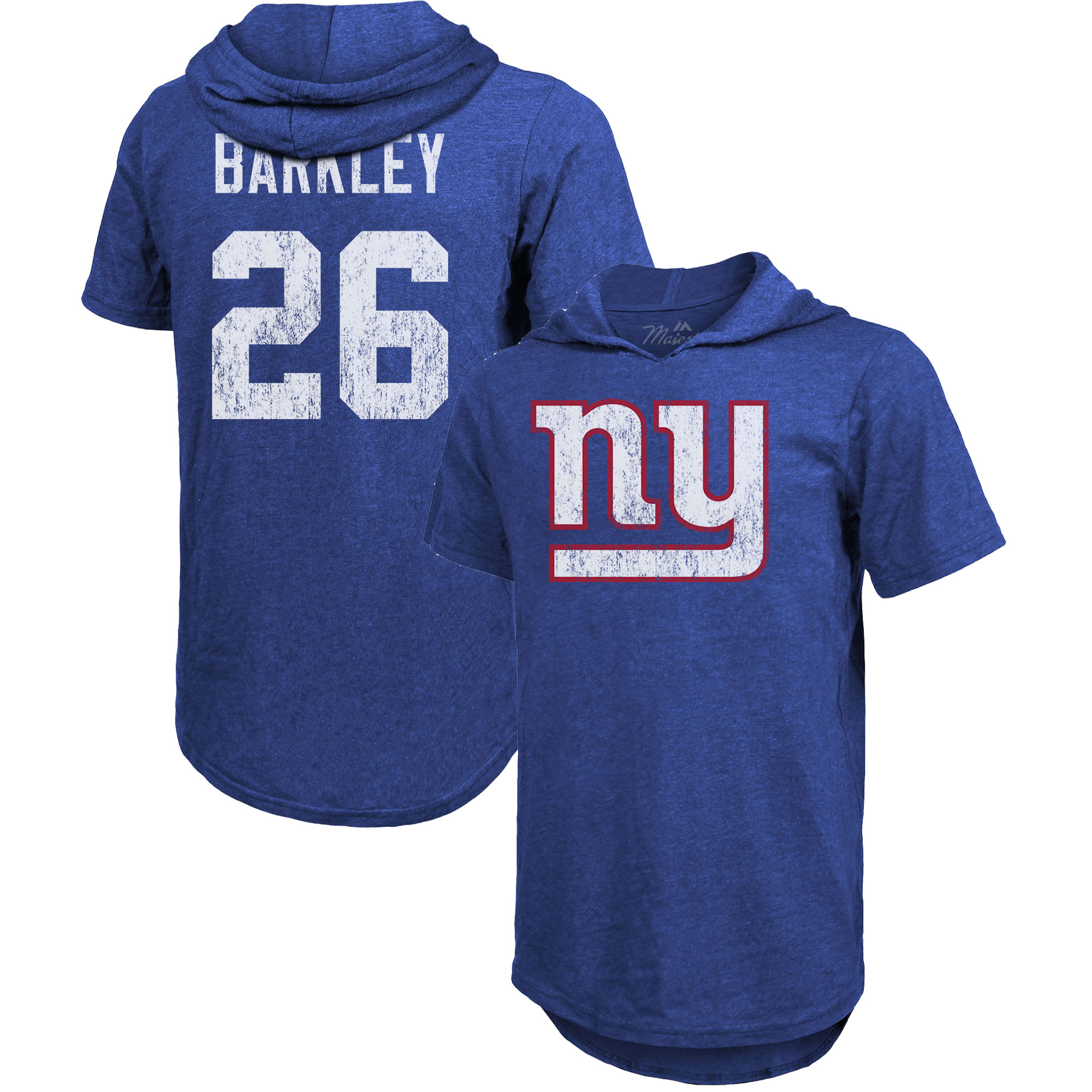 Saquon Barkley New York Giants Majestic Threads Name & Number Tri-Blend Hooded T-Shirt - Royal