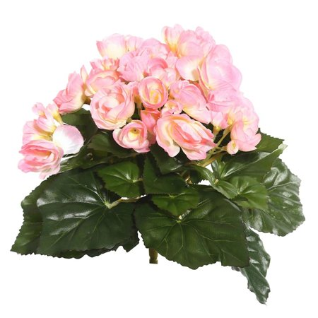 Vickerman 9 5  Light Pink Polyester Begonia Bush With 36 Leaves And 54 Flowers