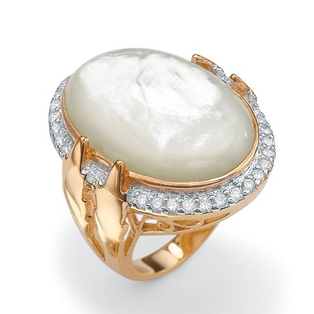 .60 TCW Cubic Zirconia and Bezel-Set Oval-Shaped Genuine Mother-of-Pearl 14k Gold-Plated Ring