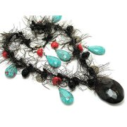 Simulated Turquoise Drops on Black Feathered Fuzzy Necklace and Hook Earrings Set