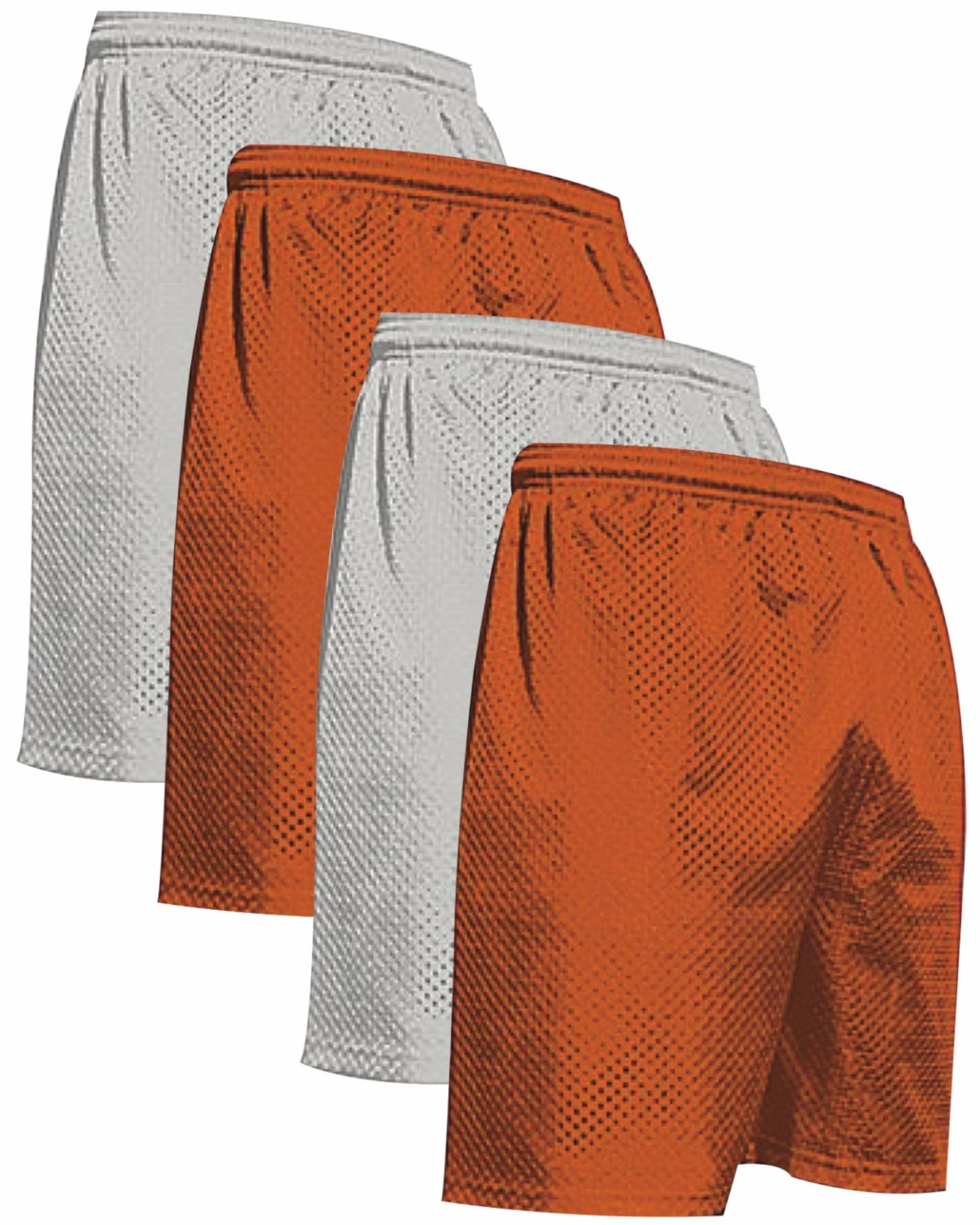 """VALUE PACK  > BUY 2 GET 2 FREE >  4 PACK > THE RAM BRAND > Men's  9"""" Performance Pro Mesh Gym Champ Shorts (XS-4XL) $10 S/H is on the 1st Pack only. In this Pack: (XS)(2Silver/2Orange)"""
