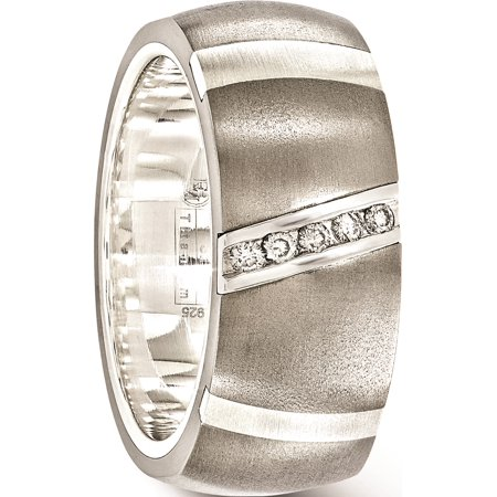 Edward Mirell Titanium & Sterling Silver .10ctw Dia 10mm Ring - image 3 de 7