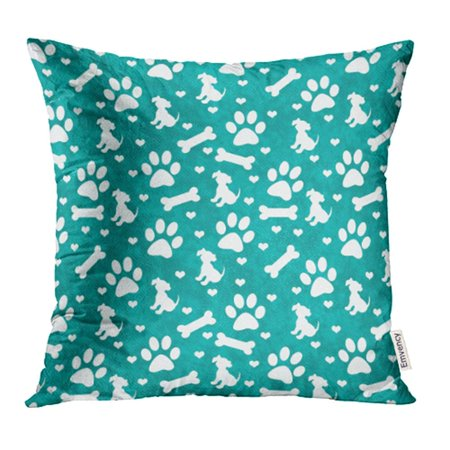 YWOTA Blue Teal and White Dog Paw Puppy Bone and Hearts Pattern That is and Repeats Green Pillow Cases Cushion Cover 18x18 inch