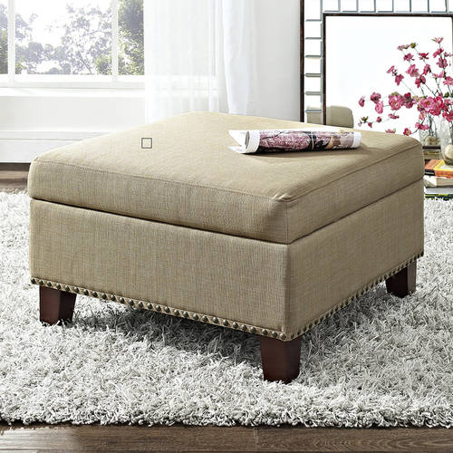 Better Homes and Gardens Grayson Linen Square Ottoman with Nailheads, Multiple Colors by Dorel Asia