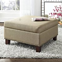 Better Homes and Gardens Grayson Linen Square Ottoman with Nailheads, Multiple Colors
