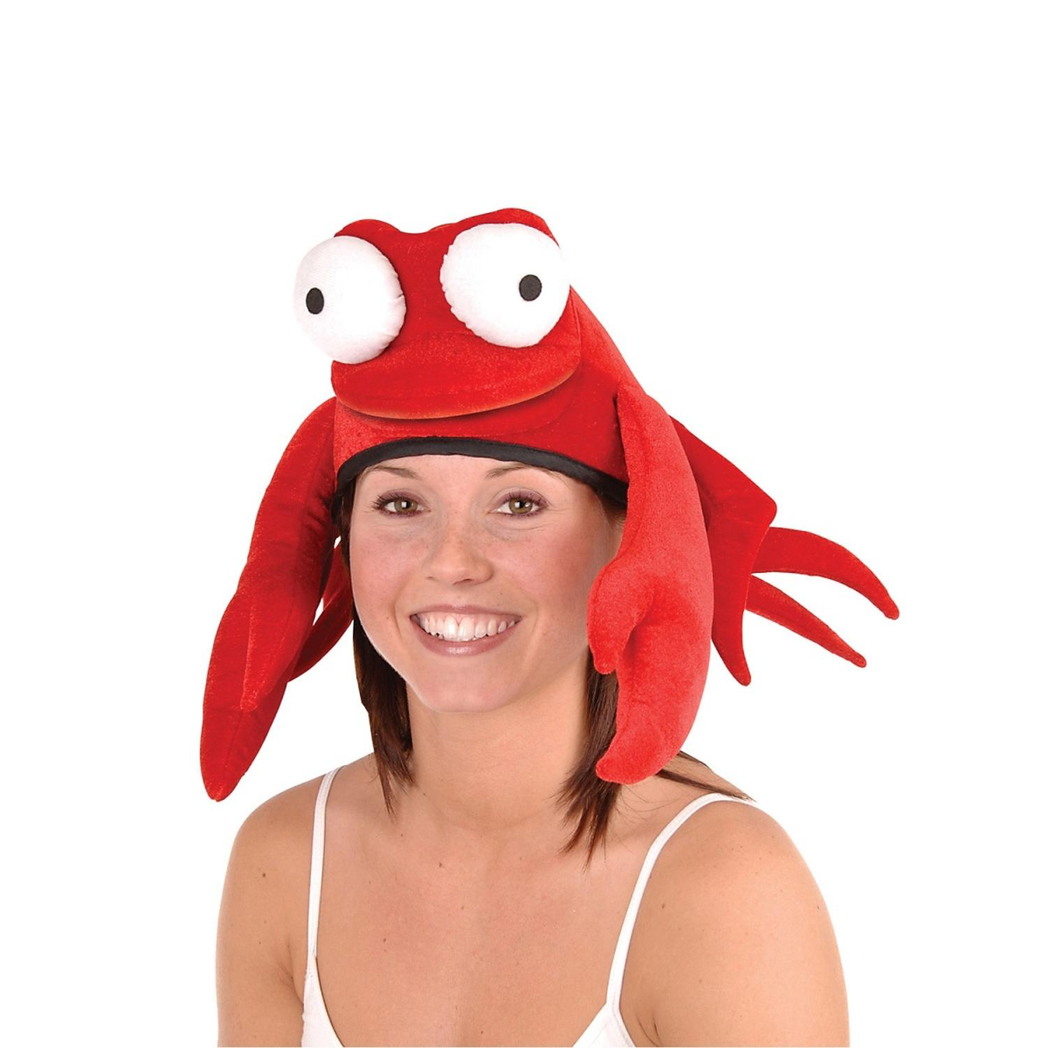 Pack of 6 Flashy Large Claw Red King Crab Soft Plush Party Hat