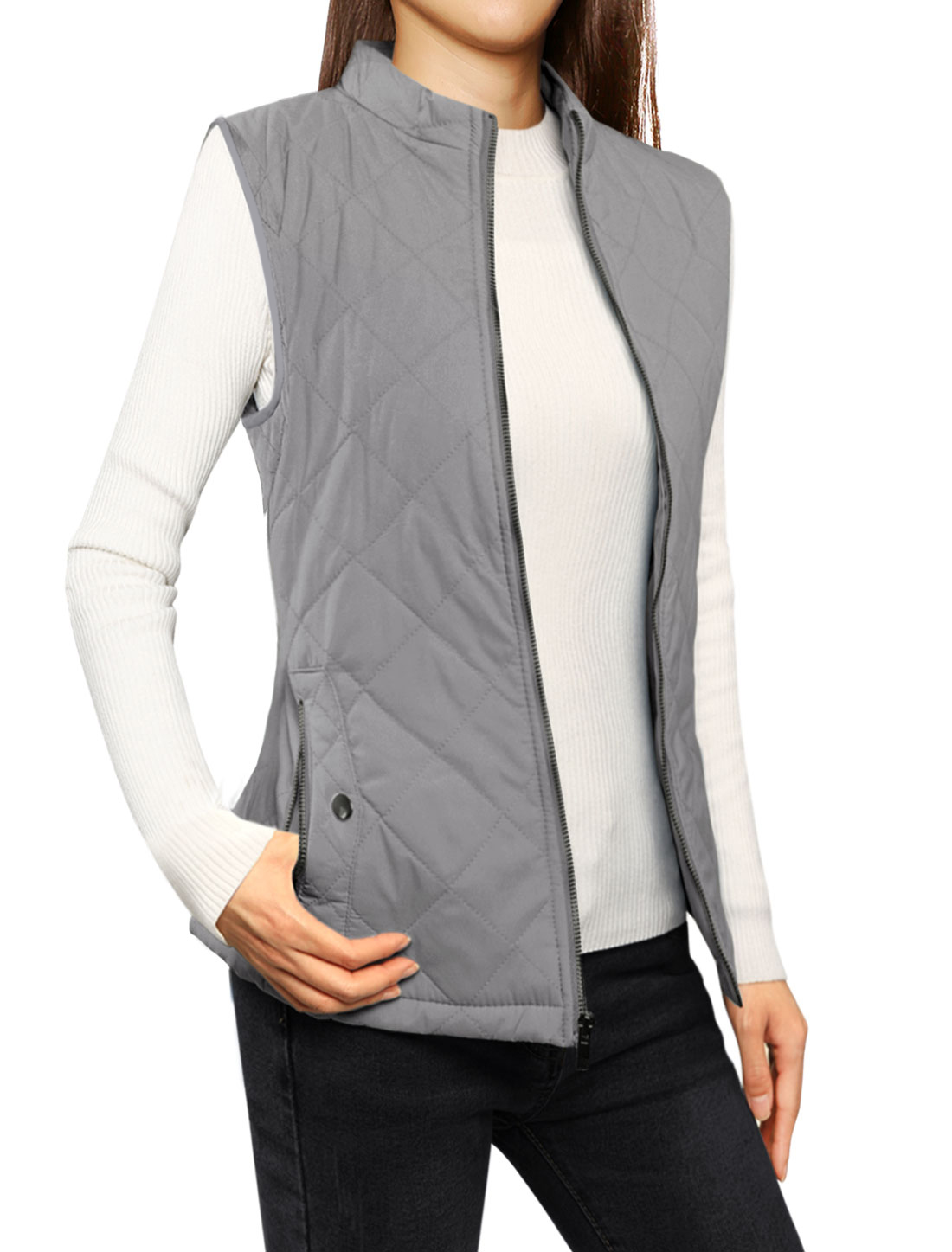 Unique Bargains Women's Stand-up Collar Zip Up Gilet Quilted Padded Vest