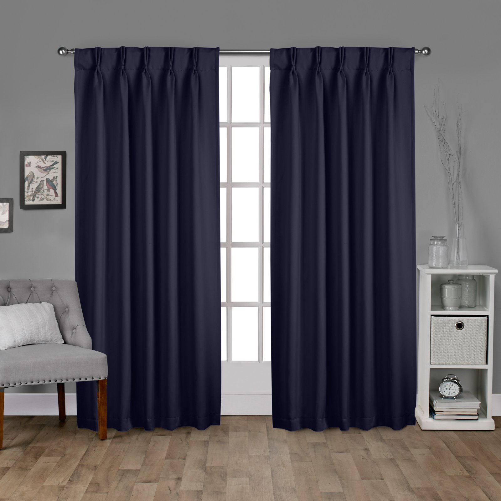 Exclusive Home Sateen Woven Blackout Window Curtain Panel Pair with Pinch Pleat Top by Amalgamated Textiles