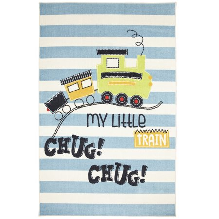 Mohawk Prismatic Area Rugs - Z0338 A416 Childrens Kids Sandy Brown Train Tracks Rows Words Rug