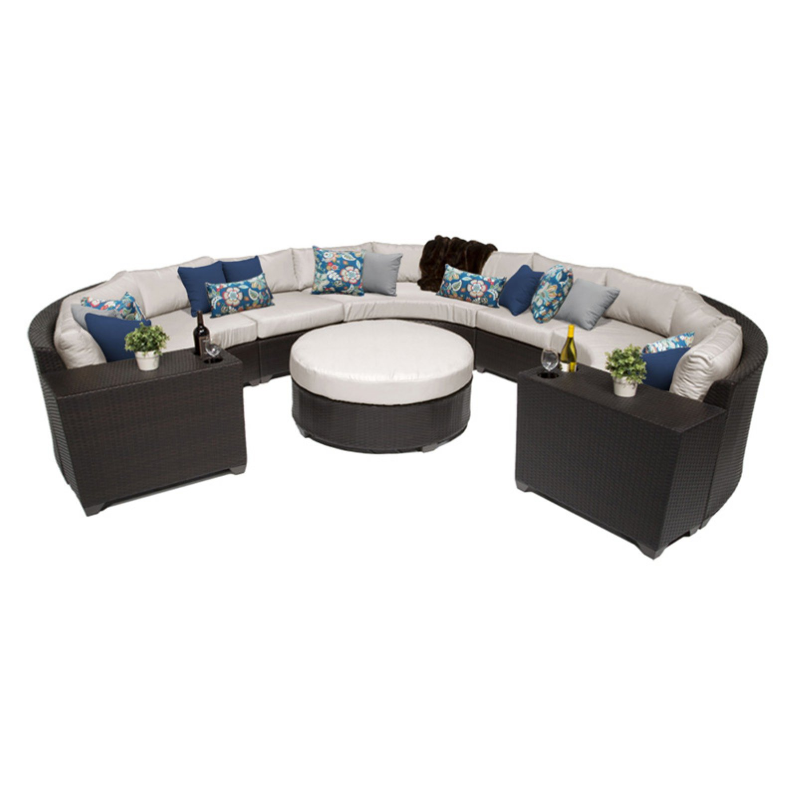 TK Classics Barbados Wicker 8 Piece Patio Conversation Set with Cup Table and 2 Sets of Cushion Covers