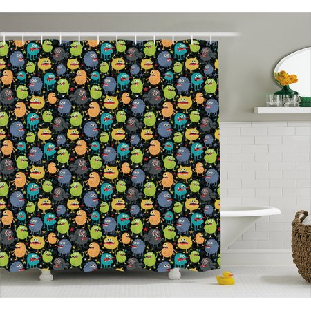 Alien Shower Curtain, Cute Funny Characters Cartoon Style Halloween Themed Monsters Abstract Background, Fabric Bathroom Set with Hooks, 69W X 70L Inches, Multicolor, by Ambesonne