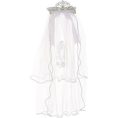 First Communion Veil with Virgin Mary & Crown Shape Flower Girl Tiara White TR - First Holy Communion Veils