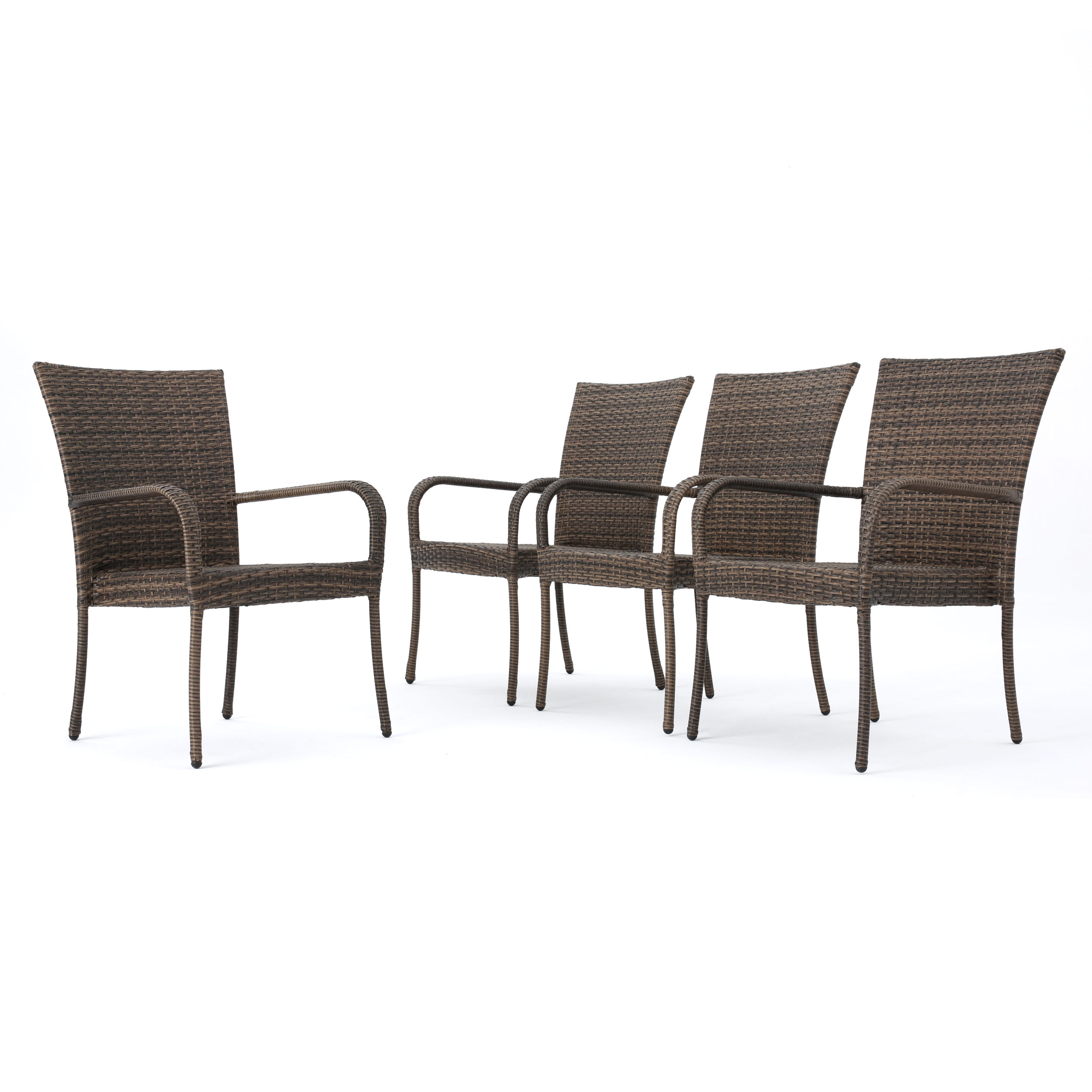Chrystie Outdoor Wicker Stackable Club Chairs, Set of 4, Mixed Mocha