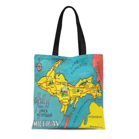 ASHLEIGH Canvas Tote Bag Colorful Midwest Vintage Upper Peninsula Michigan United States Map Reusable Handbag Shoulder Grocery Shopping (Midwest Tote)