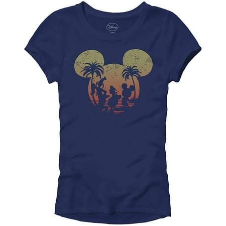 Disney Mickey Mouse Sunset Silhouette Disneyland World Tee Funny Humor Women's Juniors Slim Fit Graphic T-Shirt Apparel Navy