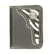 Nocona Belt N5457801 Zebra Print Hair-On Hide Inlay with Cowboy Prayer Concho Bi-Fold Wallet, Black - One Size