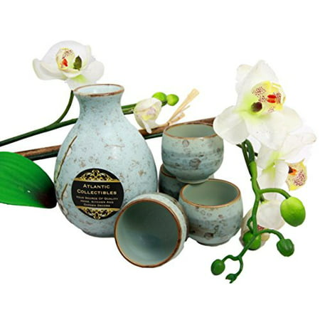 (Atlantic Collectibles Japanese 9oz Ceramic Ocean Blue Cherry Blossoms Sake Set Flask With Four Cups)