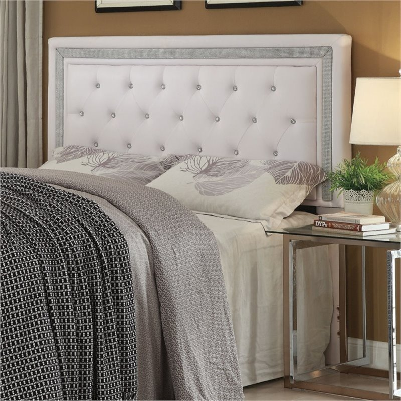 Pemberly Row Faux Leather Upholstered Full Queen Panel Headboard