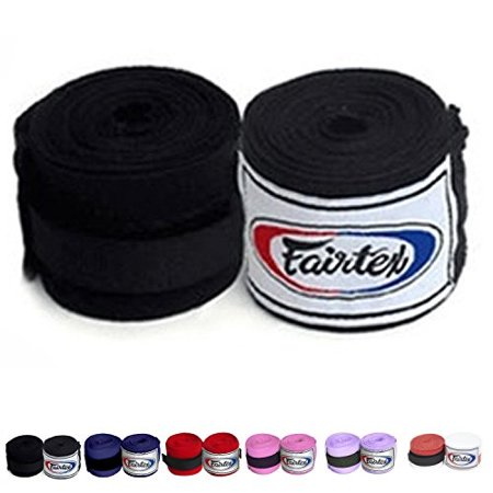 fairtex elastic cotton handwraps hw2 hand wraps color black bleach blue red white pink purple thaialnd used in muay thai, boxing, kickboxing, mma (hw2, (Best Hand Wraps For Kickboxing)