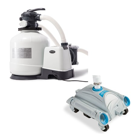Intex 3000 GPH Above Ground Pool Sand Filter Pump and Automatic Pool Vacuum (Fluidized Sand Filter)