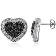 JewelonFire  Sterling Silver 1/2ct TDW Black and White Diamond Earrings