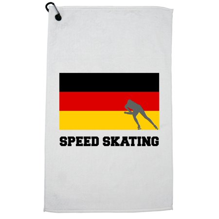 Germany Olympic - Speed Skating - Flag - Silhouette Golf Towel with Carabiner Clip Olympic Speed Skating