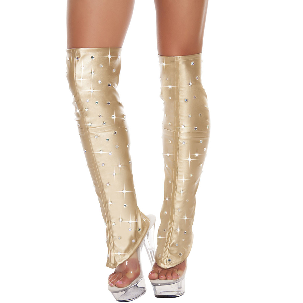 Sexy Women's Leatherette Leg Warmers With Rhinestone Detail Silver