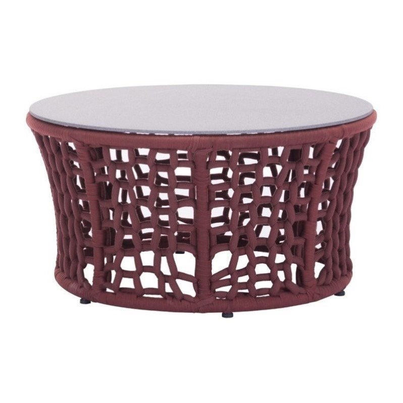 Zuo Faye Bay Beach Vive Coffee Table in Cranberry and Granite Finish 703580