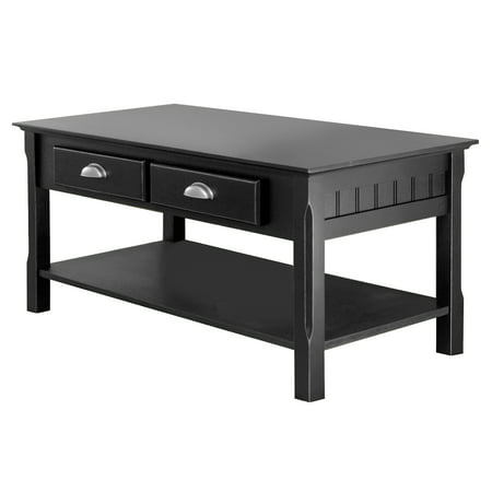 Winsome Wood Timber Coffee Table with Two Drawers, Black Finish