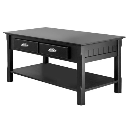 Winsome Wood Timber Coffee Table With Two Drawers Black