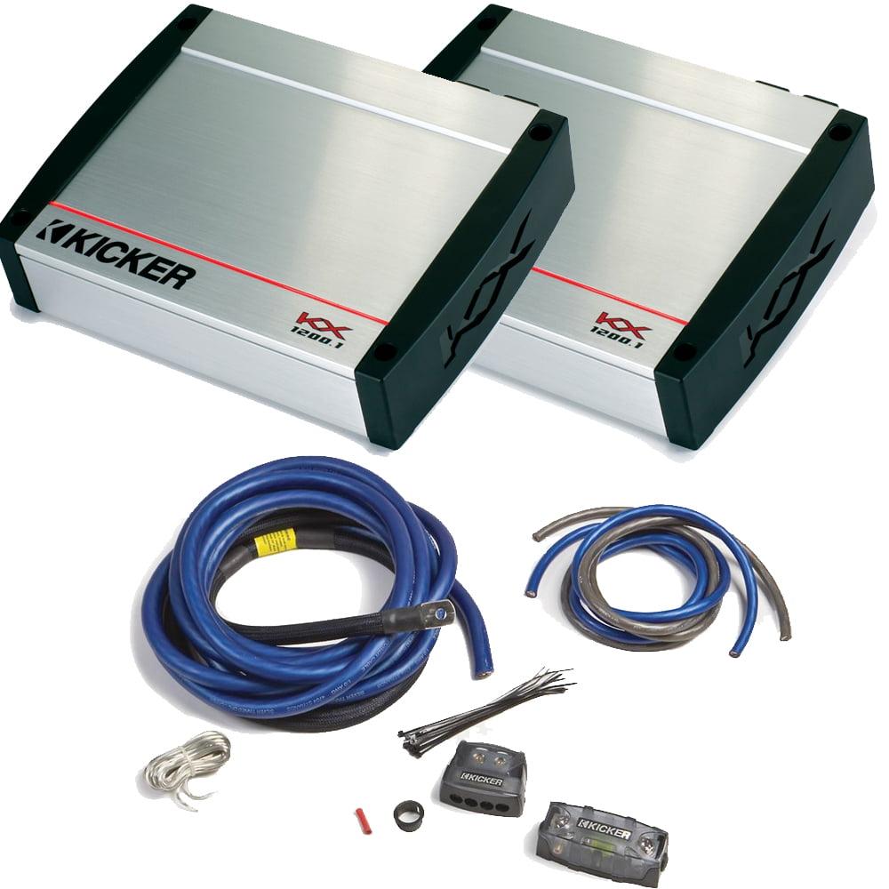 Kicker KX Amplifier package - Two Kicker KX-Series 1200 Watt Class-D Monoblock Amplifier 40KX12001 + PKD1 1/0 wiring kit
